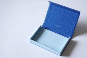 ブルー×水色のボックスタイプ名刺ケース
