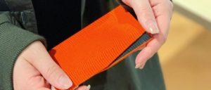 slim card caseオレンジ×グレー
