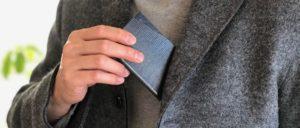 slim card caseグレー×ネイビー